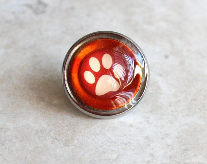orange paw print pin, tie tack, lapel pin, dog paw, cat paw, unique gift, veterinarian gift, vet tech pin, animal paw, paw jewelry, paw pin