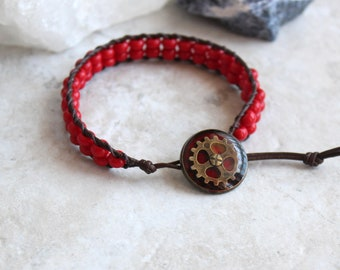 red gear bracelet, cog bracelet, steampunk bracelet, steampunk jewelry, unique gift, mechanical jewelry