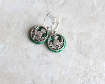 emerald green Scottish thistle hoop earrings, Scottish jewelry, unique gift, hoop with charm, floral jewelry, nature jewelry