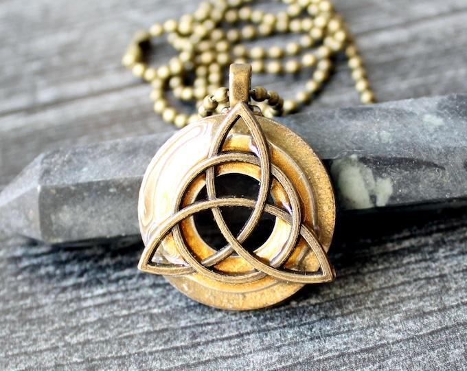 triquetra necklace, druid pendant, mens jewelry, mens necklace, boyfriend gift, golden