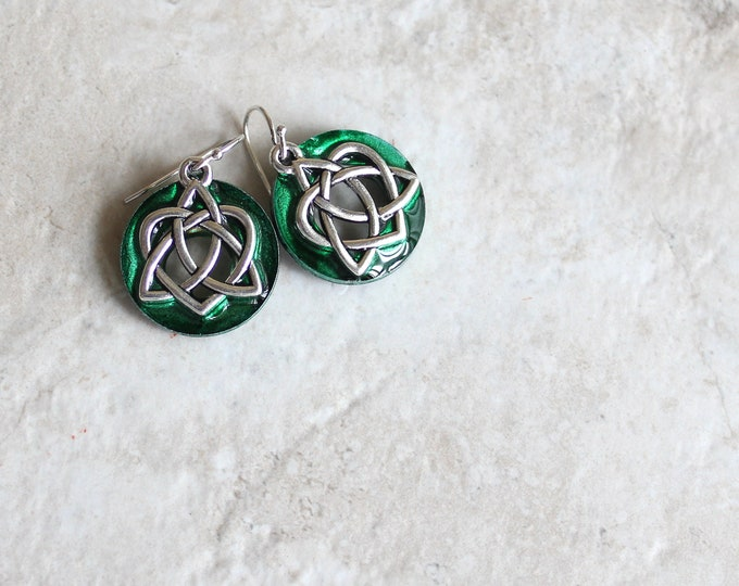 forest green Celtic sister knot earrings, Celtic jewelry, sister gift, friendship jewelry, unique gift, valentine earrings