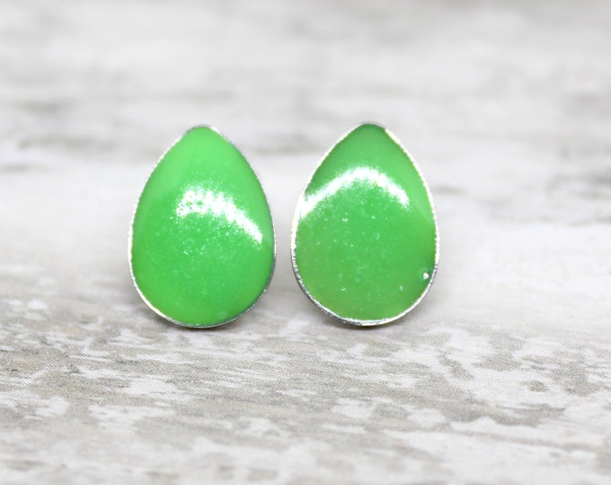 neon green teardrop earrings with stainless steel posts