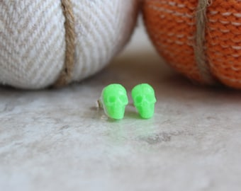 neon green skull earrings, post earrings, small earrings, sterling silver post, Halloween jewelry, Halloween costume, Halloween earrings