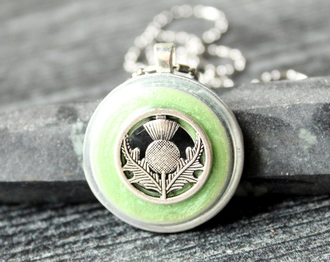 Scottish thistle necklace, grass green, unique gift, nature necklace