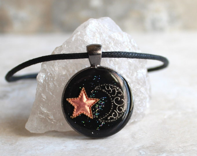 star and moon necklace, crescent moon, peach star, celestial jewelry, star necklace, unique gift, cord necklace, outer space jewelry