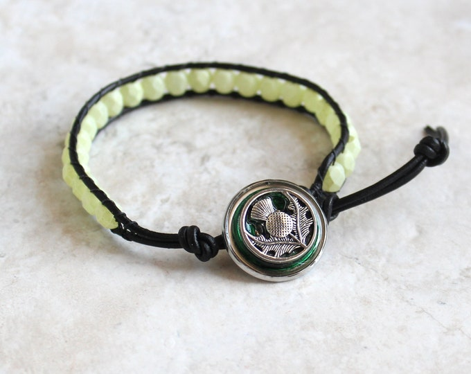 Scottish thistle bracelet with leather cord and glass beads