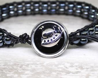 UFO bracelet made with hematite beads