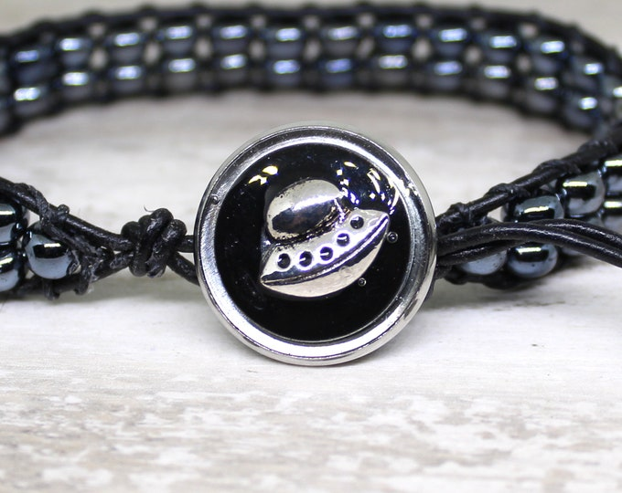UFO bracelet made with hematite beads