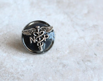 gray nurse practitioner pin, np pinning ceremony, nurse graduation gift, pinning ceremony, white coat ceremony, np graduation