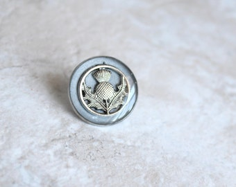 silver Scottish thistle tie tack, lapel pin, Scottish wedding, wedding jewelry, nature jewelry, mens jewelry, groomsmen gift, wedding gift