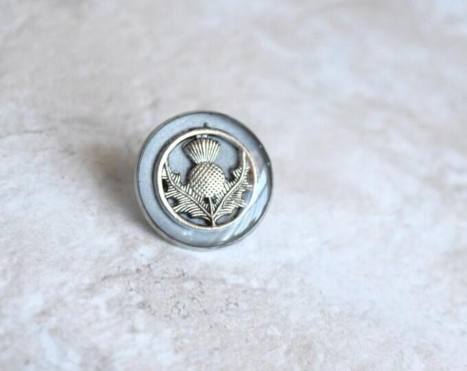 silver Scottish thistle tie tack, lapel pin, Scottish wedding, wedding jewelry, nature jewelry, mens jewelry, groomsmen gift, wedding gift