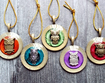 owl ornaments, set of 5, table top tree ornaments, miniature tree, bird ornaments, spring tree ornaments