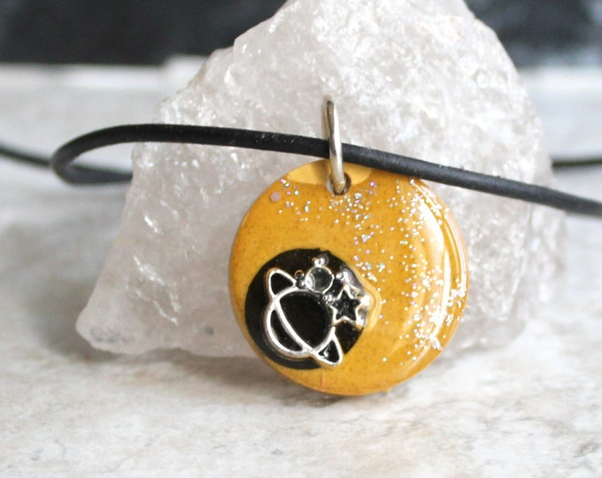 mustard planet necklace, outer space pendant, galaxy necklace, celestial jewelry, Saturn jewelry, unique gift, stocking stuffer