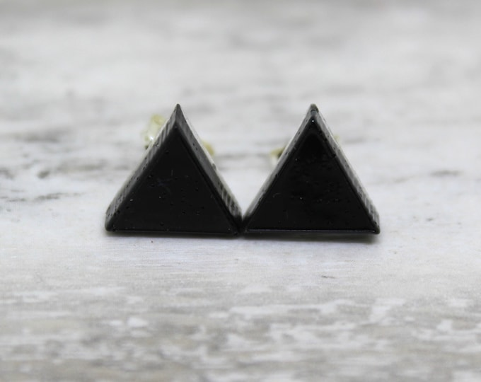 black triangle earrings with sterling silver posts