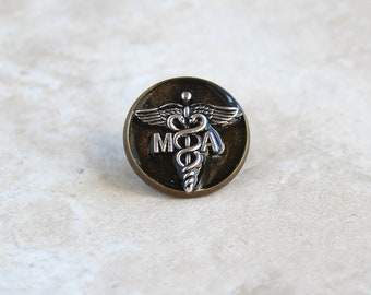black gold medical assistant pin, MA pinning ceremony, MA graduation gift, white coat ceremony, medical assistant gift