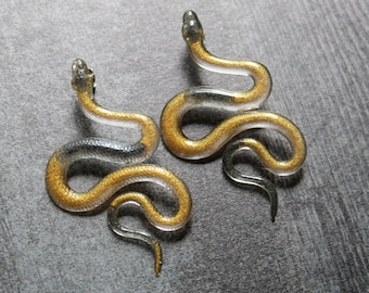 snake earrings with sterling silver posts, unique gift, halloween jewelry, goth earrings