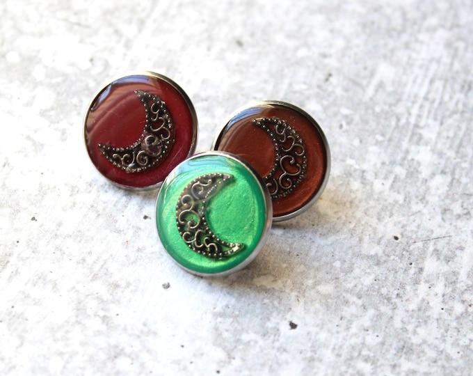 set of 3 crescent moon pins, lunar lapel pins, unique gift