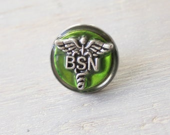 Bachelor of Science nursing pin, green, BSN pinning ceremony, white coat ceremony