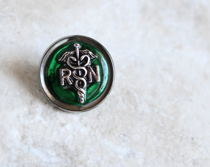 forest green registered nurse pin, RN pinning ceremony, nurse graduation gift, white coat ceremony, graduation gift