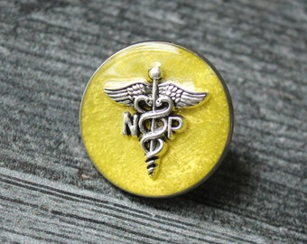 nurse practitioner pin, np pinning ceremony, nurse graduation gift, white coat ceremony, yellow, large
