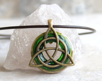 green triquetra necklace, Celtic knot jewelry, mens necklace, mens jewelry, irish love knot, druid jewelry, boyfriend gift, gift for him