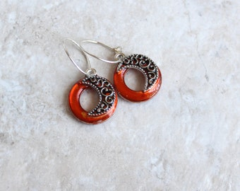 orange moon earrings, tiny hoop earrings, hoop charm earrings, halloween jewelry, halloween earrings, halloween costume, unique gift
