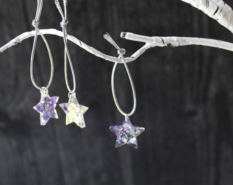star ornaments, set of 15, table top tree ornaments, tree decorations, miniature tree, purple and silver