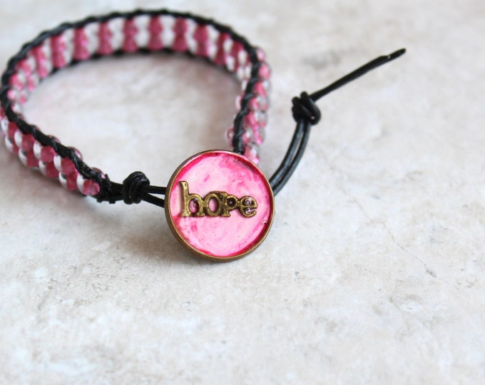 pink hope bracelet, beaded bracelet, leather cord bracelet, hope jewelry, inspirational jewelry, unique gift, hippie jewelry