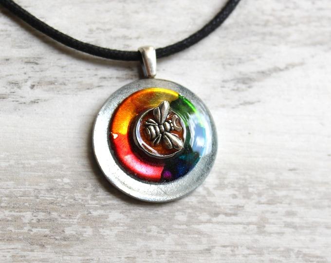rainbow bee necklace