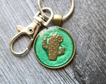 cactus keychain, saguaro cactus keyring, cute gift, succulent keyring