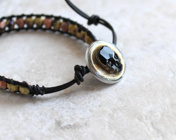 skull bracelet, black skull, skull jewelry, halloween jewelry, halloween costume, halloween bracelet, unique gift