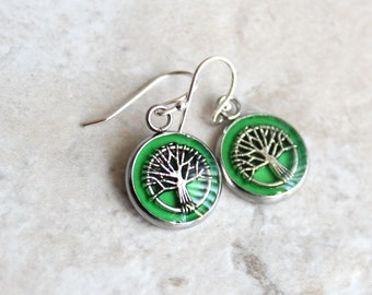 bright green tree earrings, tree of life, tree jewelry, woodland jewelry, wiccan jewelry, unique gift, wife gift, nature earrings