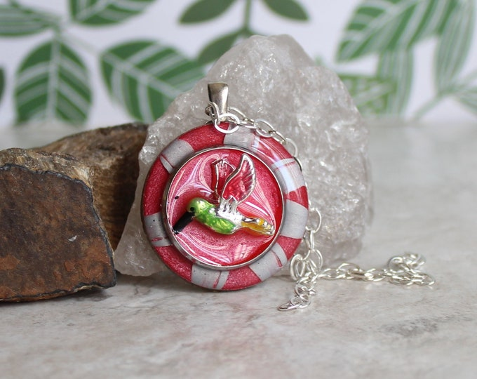 rose hummingbird necklace, hummingbird jewelry, nature necklace, unique gift, bird pendant, gift for her