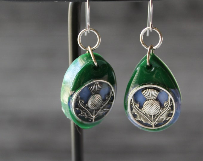 green and blue Scottish thistle earrings, geometric jewelry, mismatched earrings, Scotland jewelry, Celtic earrings, unique gift