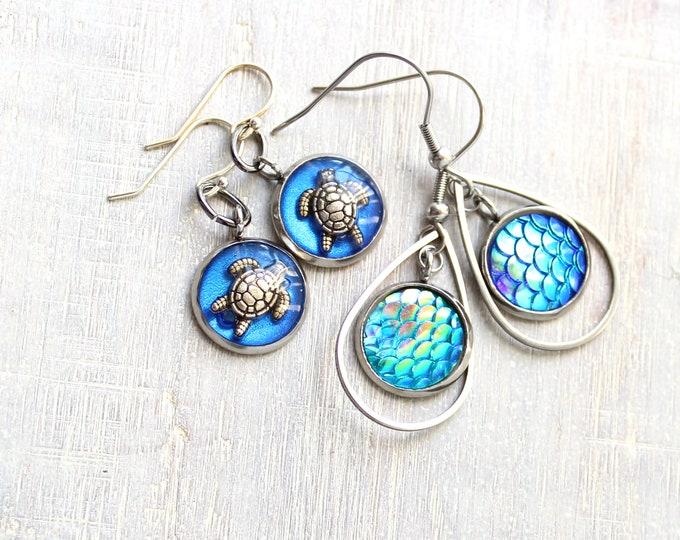 ocean themed earrings, 2 pairs, gift set, turtle earrings, mermaid scale earrings