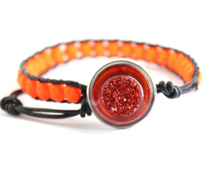 druzy style bracelet with neon orange glass beads and leather cord