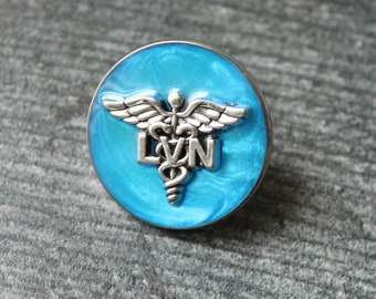 licensed vocational nurse pin, LVN pinning ceremony, white coat ceremony, dark blue, large