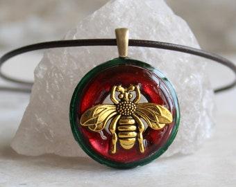 red bee necklace, honeybee jewelry, bumblebee pendant, bee lover, nature necklace, unique gift, boho jewelry, hippie jewelry