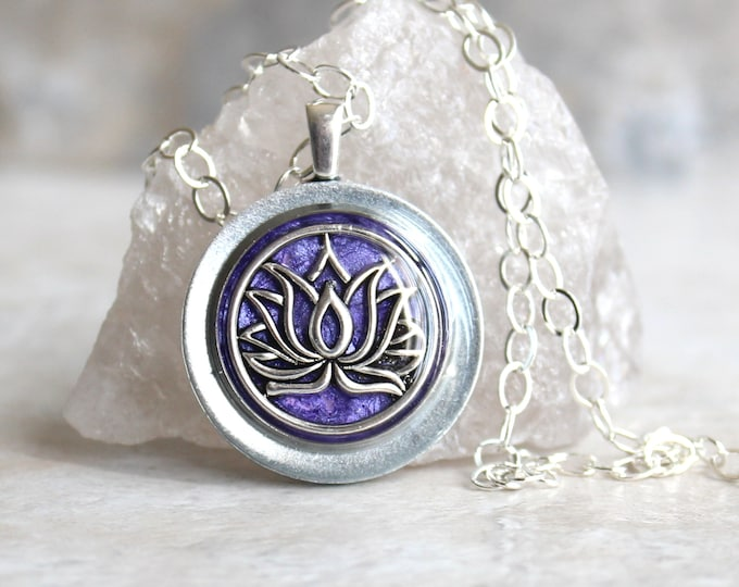 purple lotus flower necklace, water lily, nature necklace, floral jewelry, unique gift, woman gift, spiritual jewelry, gift for her