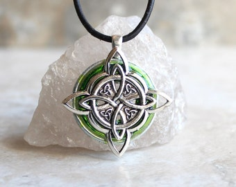 green Celtic knot necklace, triquetra necklace, Celtic knot jewelry, mens Irish pendant, boyfriend gift, wiccan necklace, druid necklace