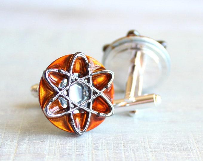 orange atom cufflinks