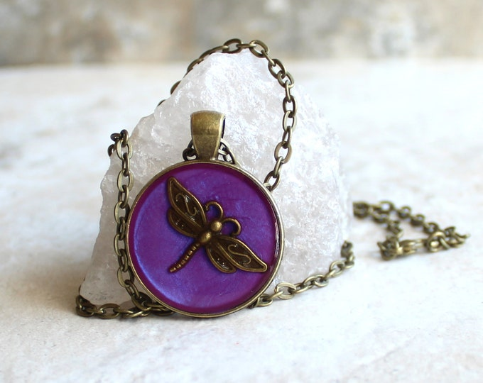 purple dragonfly necklace, dragonfly jewelry, nature necklace, unique gift, ready to ship, boho jewelry, bohemian style, festival wear