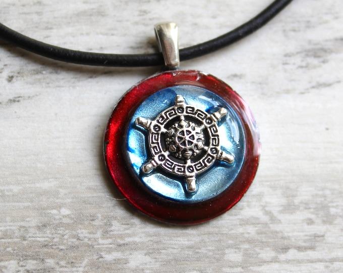 ship's wheel necklace, nautical jewelry