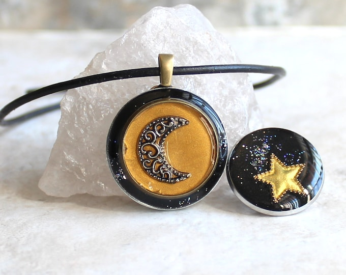 moon and stars gift set, moon necklace, star pin, lapel pin, crescent moon, unique gift, moon jewelry, galaxy jewelry, lunar necklace