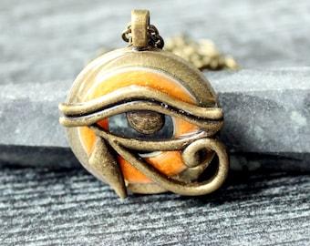 Eye of Horus necklace, eye of Ra jewelry, Egyptian pendant, mens jewelry, boyfriend gift, mens necklace, unique gift, golden orange