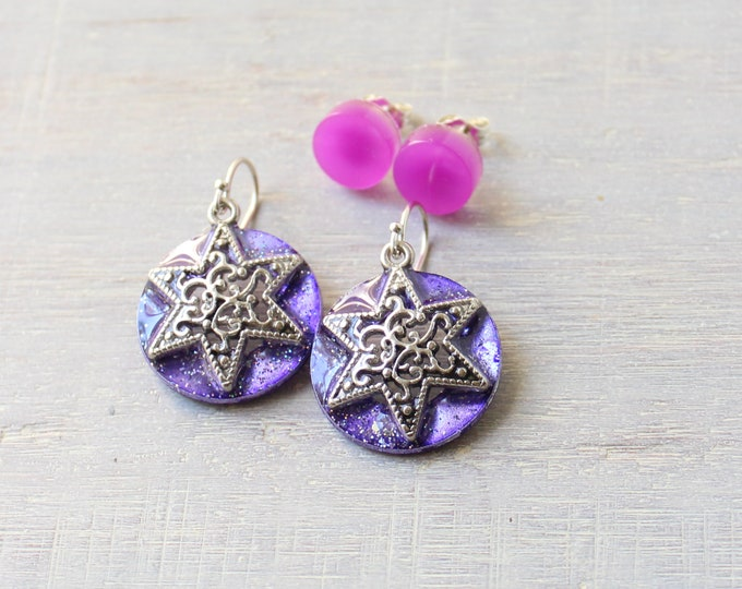 star earrings with purple glow in the dark circle studs on sterling silver ear wires and posts