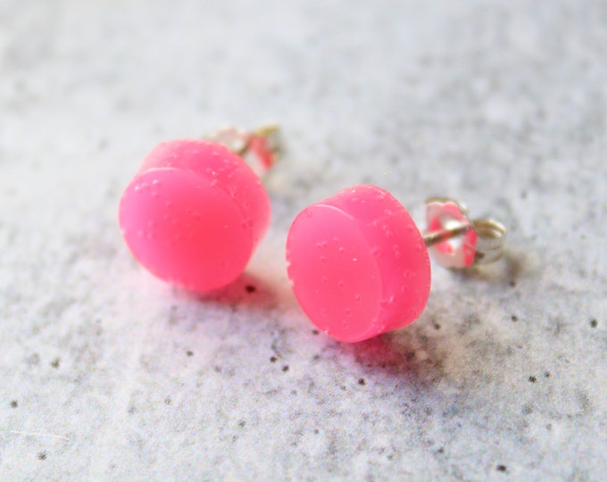 pink circle earrings with sterling silver posts, minimalist jewelry, unique gift