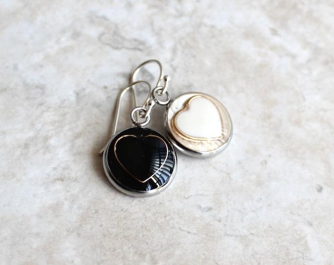 black and white heart earrings, valentine jewelry, unique gift, heart jewelry, valentine gift, valentine earrings, mismatched earrings
