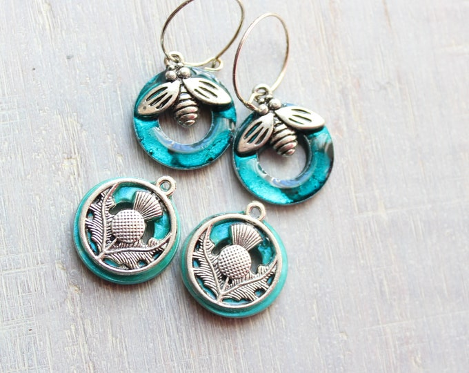 tiny silver hoop earrings with bee and Scottish thistle charms