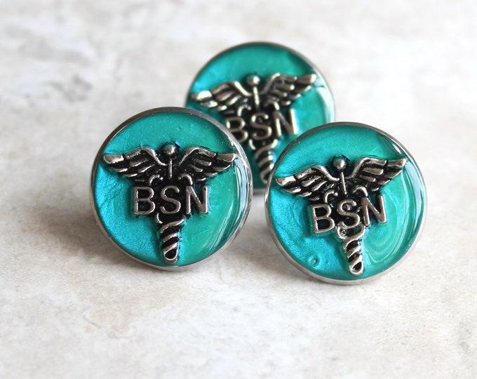 aqua Bachelor of Science nursing pin, BSN pinning ceremony, nurse graduation gift, white coat ceremony